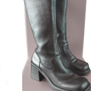 Vintage Leather Calf High Boots Painted Metallic
